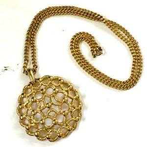 MONET VINTAGE gold Modernist Necklace
